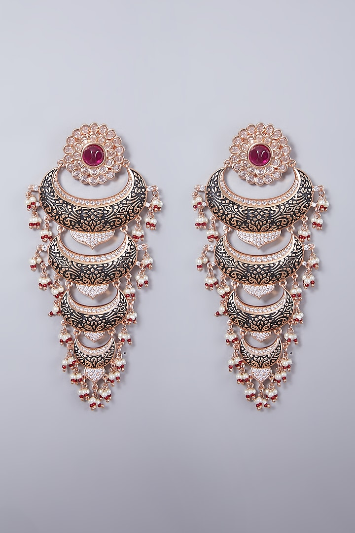 Rose Gold Finish Beaded Earrings by 20AM