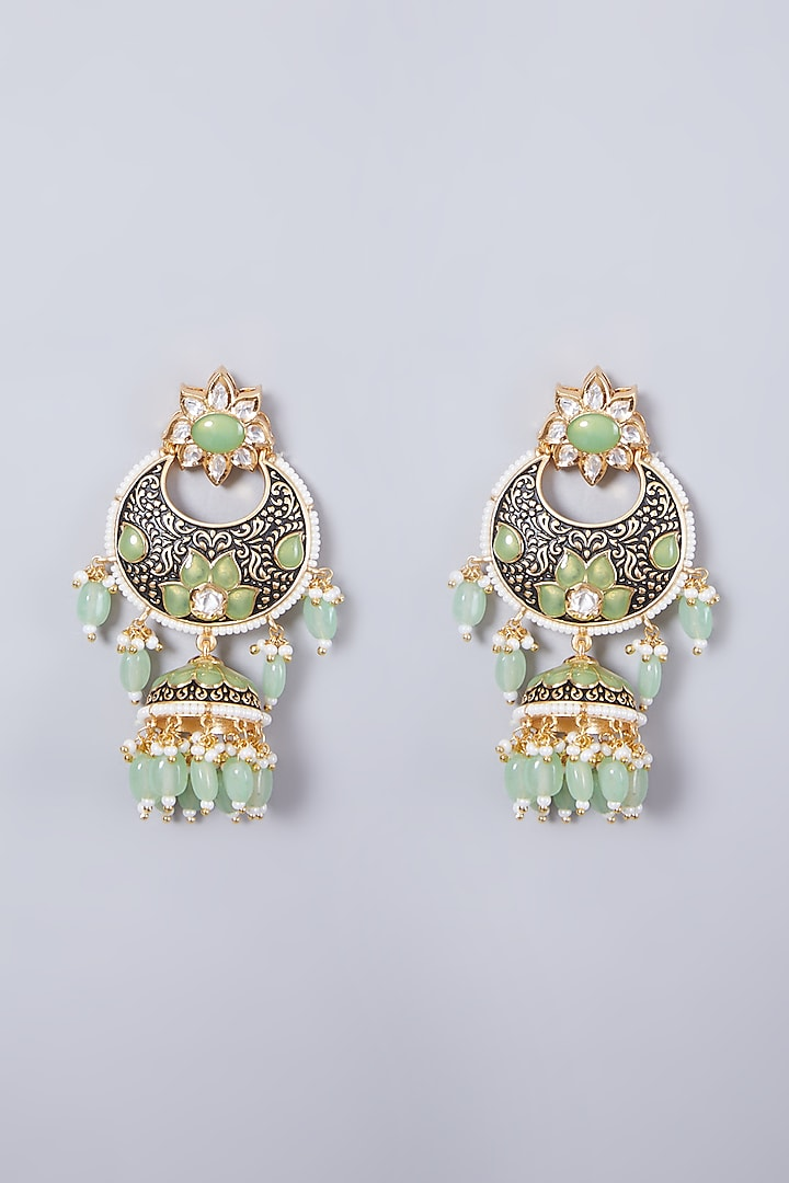 Gold Finish Light Green Stone Earrings by 20AM