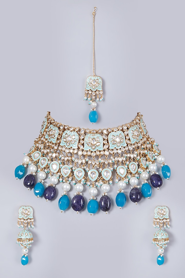 Gold Finish Blue Stone Necklace Set by 20AM