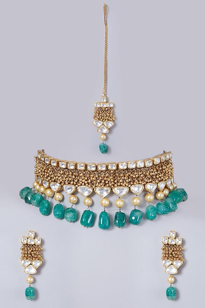 Gold Finish Kundan Polki Necklace Set by 20AM