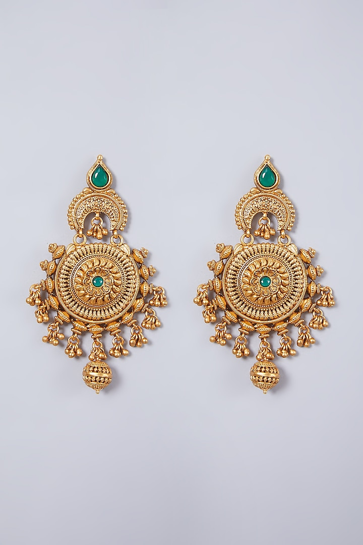 Gold Finish Carved Earrings by 20AM