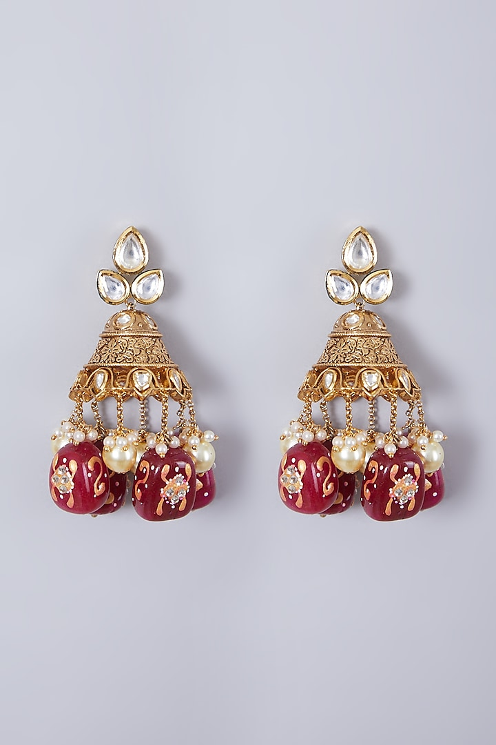 Gold Finish Red Stone Earrings by 20AM