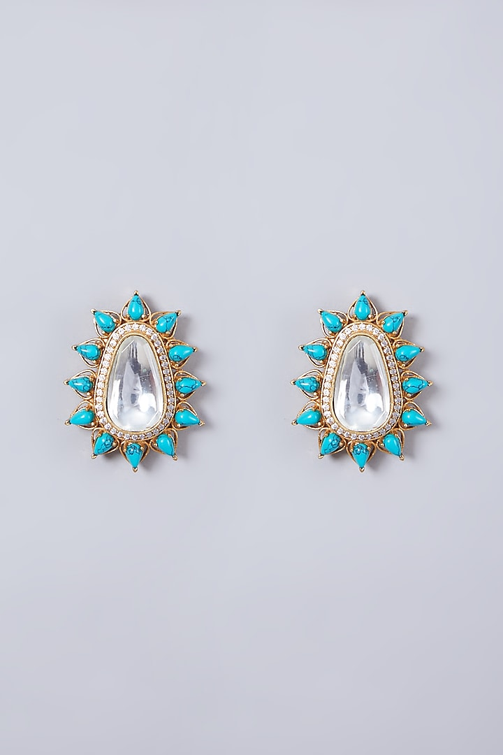 Gold Finish Turquoise Stone Stud Earrings by 20AM