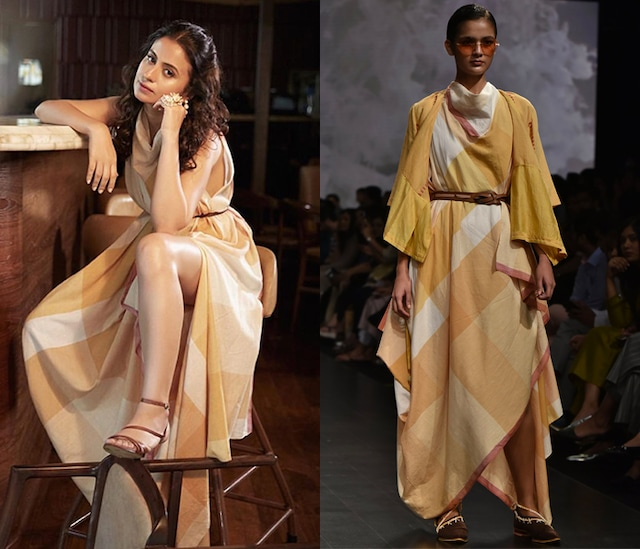 Yellow Cowl Drape Dress by Tahweave