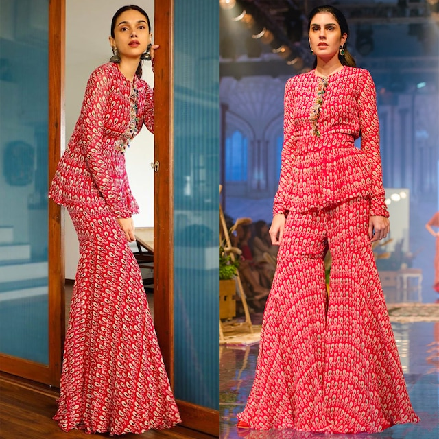 Deep Fuchsia Printed Peplum Top With Gharara by Ridhi Mehra
