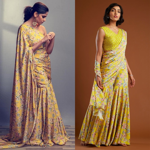 Yellow Printed Gharara Saree With Blouse by Aayushi Maniar
