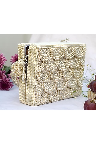 White Hand Embroidered Clutch by EENA