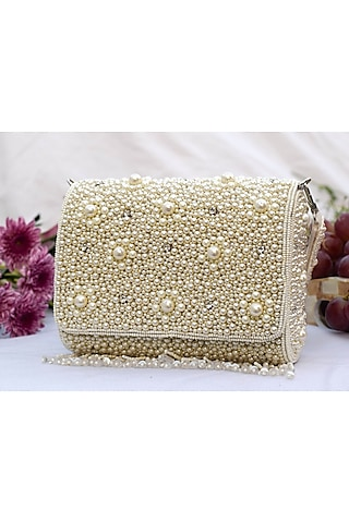 White Embroidered Clutch With Flap Opening by EENA