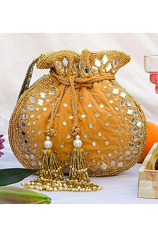 Golden Hand Embroidered Potli by EENA