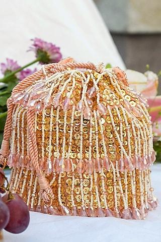 Pink Hand Embroidered Bucket Bag by EENA