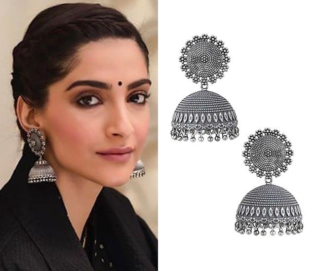 Silver plated jhumki earrings by ZEROKAATA