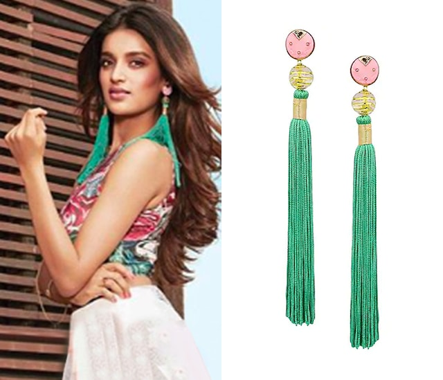 Gold Plated Pink Acrylic Top Ang Green Silk Tassel Earrings by Valliyan by Nitya Arora