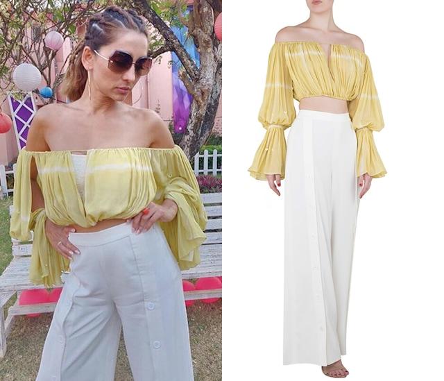 Iris Yellow Textured Crop Top with Thigh High Slit Pants by Babita Malkani