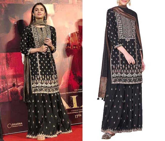 Black embroidered kurta with sharara pants by ANITA DONGRE