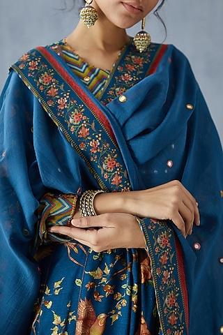 Blue Hand Embroidered Dupatta by TORANI