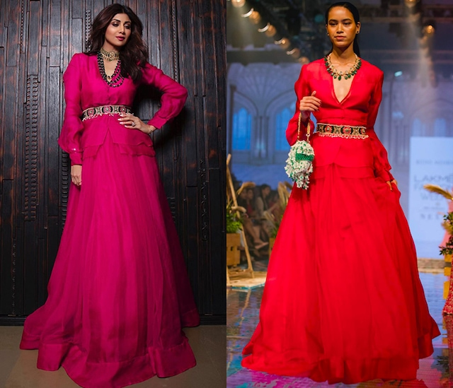 Pink V-Neck Shirt With Lehenga Skirt by Ridhi Mehra