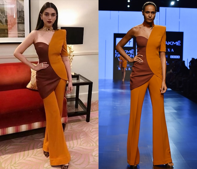 Brown Circular Petal One Sleeve Top With Pants by Nikhil Thampi