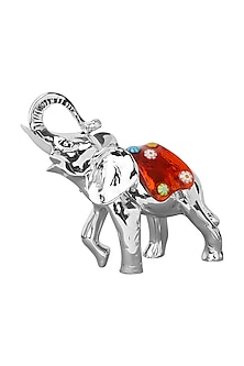 Silver Plated Red Truncus Elephant Figurine (S) by Shaze