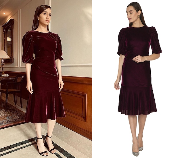 Purple Pleated Dress With Puffed Sleeves by Ankita