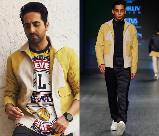 Yellow Buff Color Blocked Jacket by Dhruv Vaish