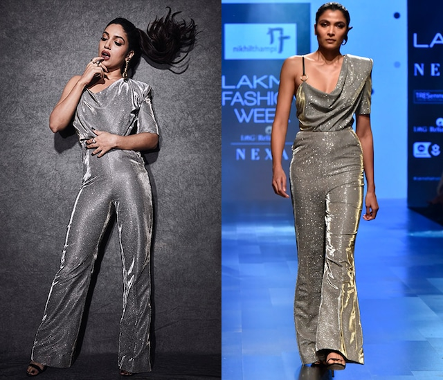 Silver One Shoulder Draped Shimmery Jumpsuit by Nikhil Thampi