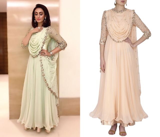 Blush Pink Embroidered Anarkali Set by Nidhika Shekhar