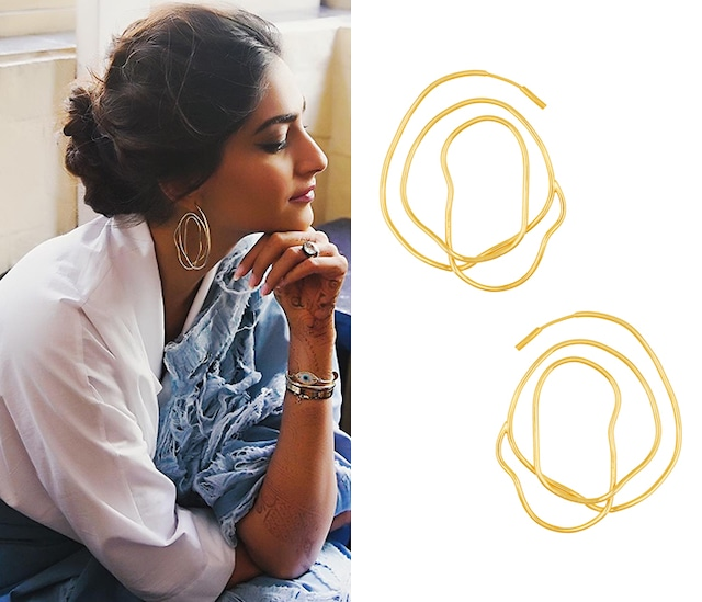 Gold Finish Twisted Hoop Earrings by Eurumme Jewellery