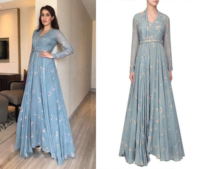 Ice Blue printed embellished anarkali set by Sana Barreja