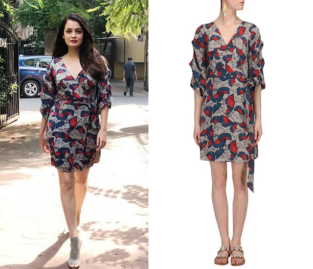 Grey Printed Wrap Dress by Ritika Bharwani