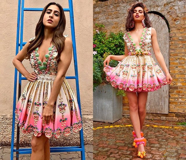 Ivory To Pink Embellished Ruffled Dress by Papa Don't Preach by Shubhika
