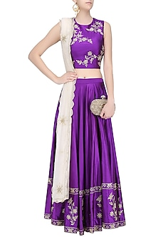 Purple Dori Floral Embroidered Lehenga Set by Samatvam By Anjali Bhaskar