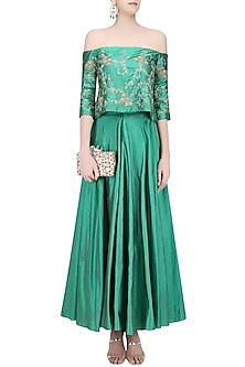 Jade Green Floral Embroidered Off Shoulder Top and Skirt Set by Samatvam By Anjali Bhaskar