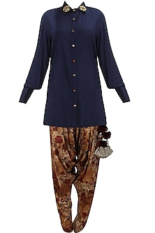 Blue floral embroidered shirt, printed dhoti pants and stole set by Natasha J