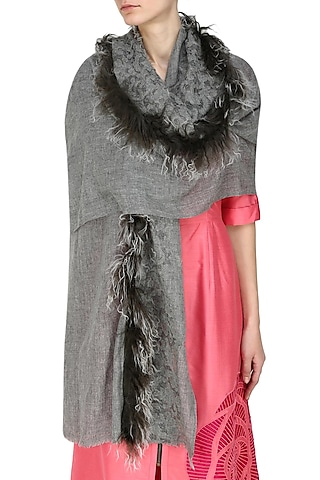 Grey cutwork and fur trim lambada shawl by Soutache