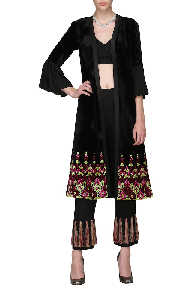 Black Crop Top and Embroidered Jacket and Pants Set by Chandni Sahi
