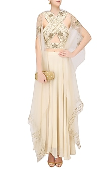 Cream Floral Embroidered Blouse, Cape and Skirt Set by Samatvam By Anjali Bhaskar