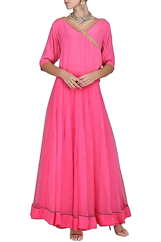 Pink Embroidered Top with Skirt by Tisha Saksena