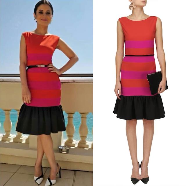 Auburn and Pink Ruffled Hem Dress by Sameer Madan