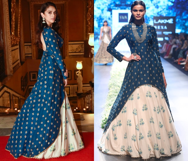 Blue High Low Embroidered Anarkali with Beige Lehenga Skirt by SVA BY SONAM & PARAS MODI