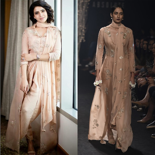 Dusty Pink Floral Embroidered Trench Coat Crop Blouse and Dhoti Pants Set by Faabiiana