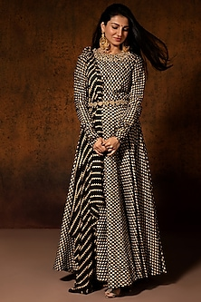 Black Bindu Printed Anarkali Set by Bhumika Sharma-POPULAR PRODUCTS AT STORE
