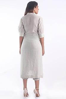 White Cotton Kurta With Slits by 3X9T
