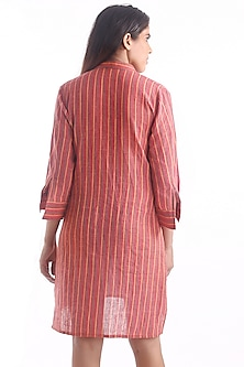 Red Kurta With Printed Stripes by 3X9T