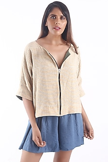 Mustard Reversible Jacket With Stripes by 3X9T