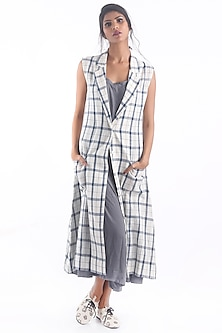 Blue Checkered Printed Jacket by 3X9T