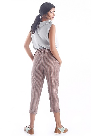 Maroon Cropped Pants With Printed Stripes by 3X9T