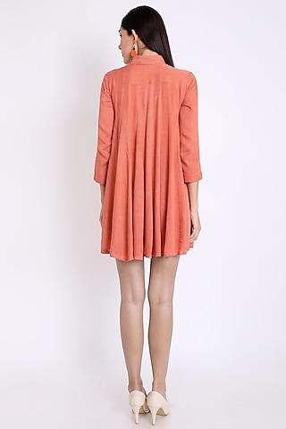 Peach Dress With Cutwork Detail by 3X9T