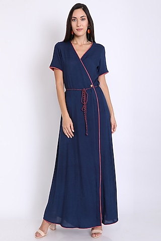 Navy Blue Wrap Dress With Tie-Up by 3X9T