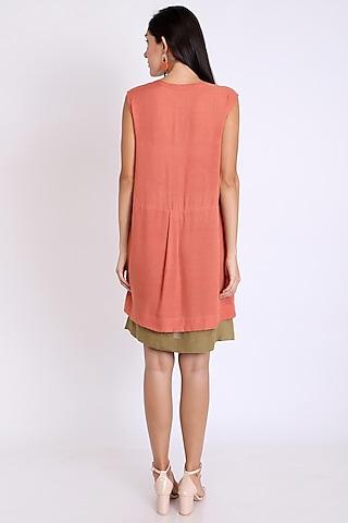 Peach Dress With Layered Hemline by 3X9T