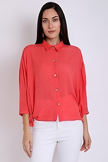 Peach Shirt With Butterfly Sleeves by 3X9T